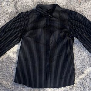 NWT! Worthington black & white striped button up